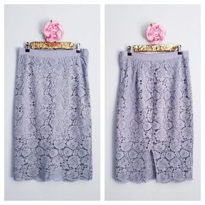 H&M Lace Pencil Skirt in blue gray